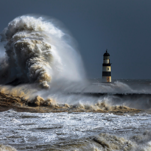 """Stormy Waters at the Harbour"" stock image"