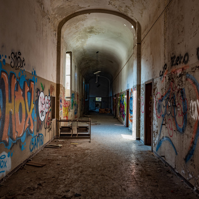 """""""Long corridor of an abandoned madhouse"""" stock image"""