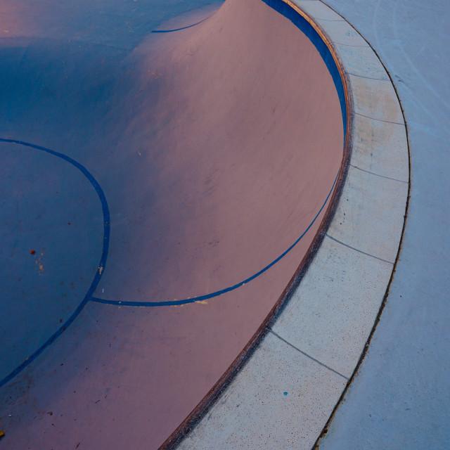 """blue skate court park in the street in Bilbao city Spain"" stock image"