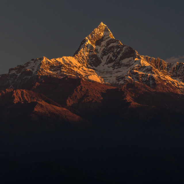 """Machapuchare at sunrise"" stock image"