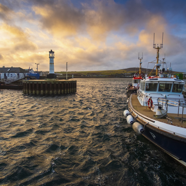 """Kirkwall Harbour, Kirkwall, Orkney"" stock image"
