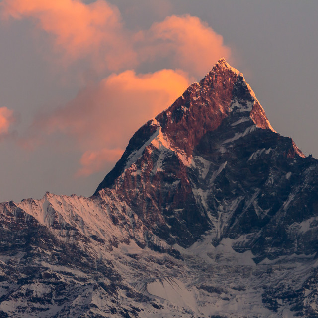 """Machapuchare at sunrise - view from Sarangkot"" stock image"