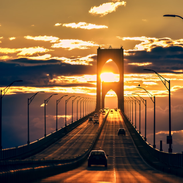 """Sunset on the highway , Rhode island, US."" stock image"