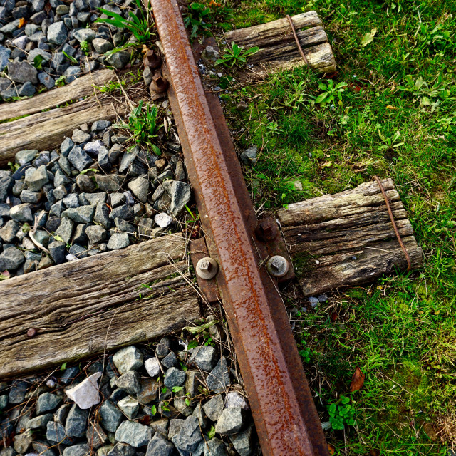"""""""old railroad track in the station in Bilbao city Spain"""" stock image"""
