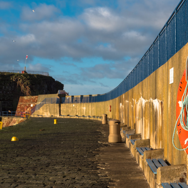 """""""Harbour Wall annd Winter Sun"""" stock image"""
