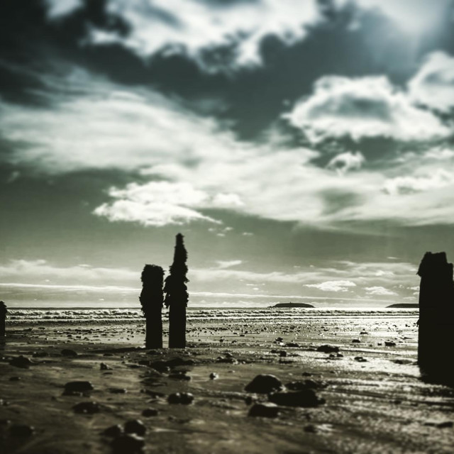 """Sentinels on the Beach"" stock image"