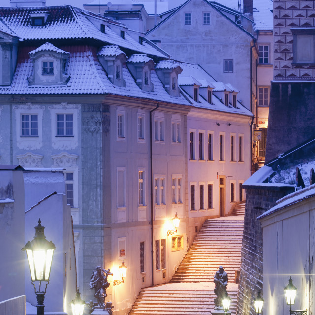 """Czech Republic, Prague - Lesser Quarter (Mala Strana) in winter"" stock image"
