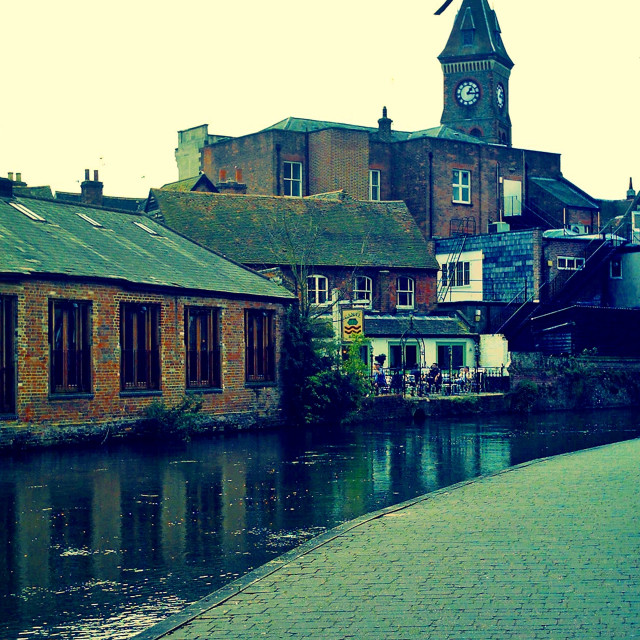 """Along the Canal Newbury"" stock image"
