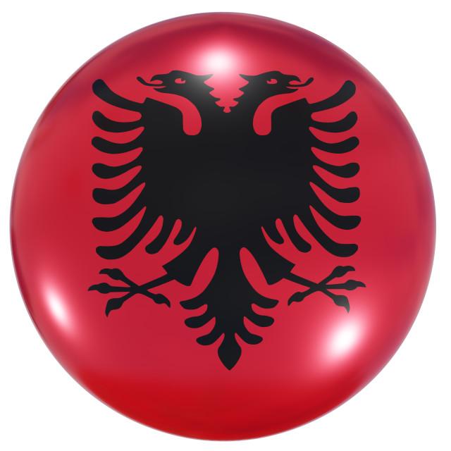 """Albania national flag button"" stock image"