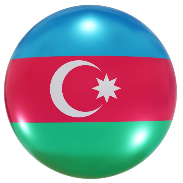 """Azerbaijan national flag button"" stock image"