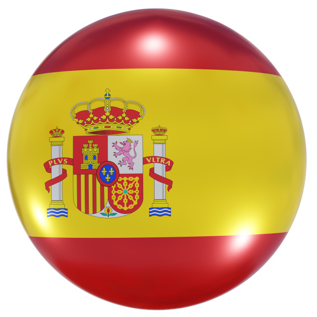 """""""Spain national flag button"""" stock image"""