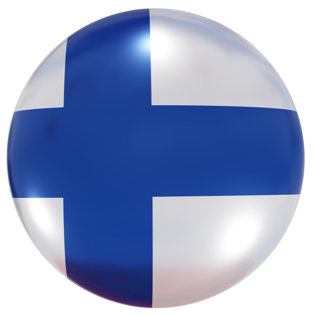"""""""Finland national flag button"""" stock image"""