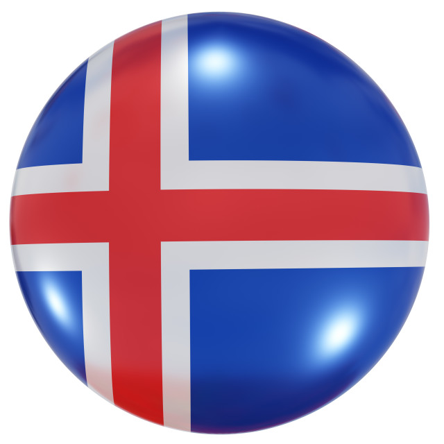 """""""Iceland national flag button"""" stock image"""