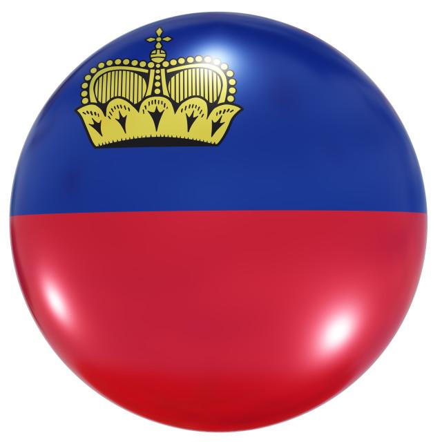 """Liechtenstein national flag button"" stock image"