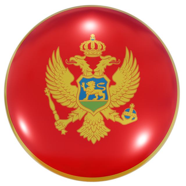 """Montenegro national flag button"" stock image"