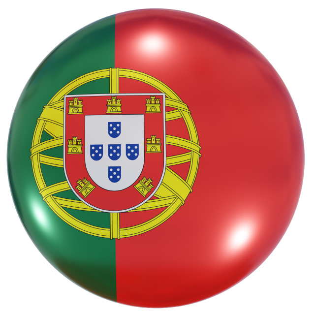 """""""Portugal national flag button"""" stock image"""