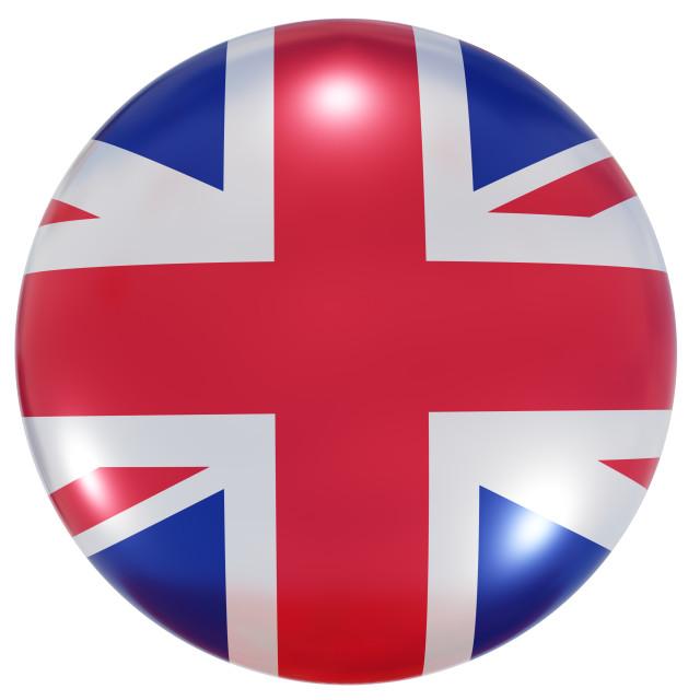 """United Kingdom national flag button"" stock image"