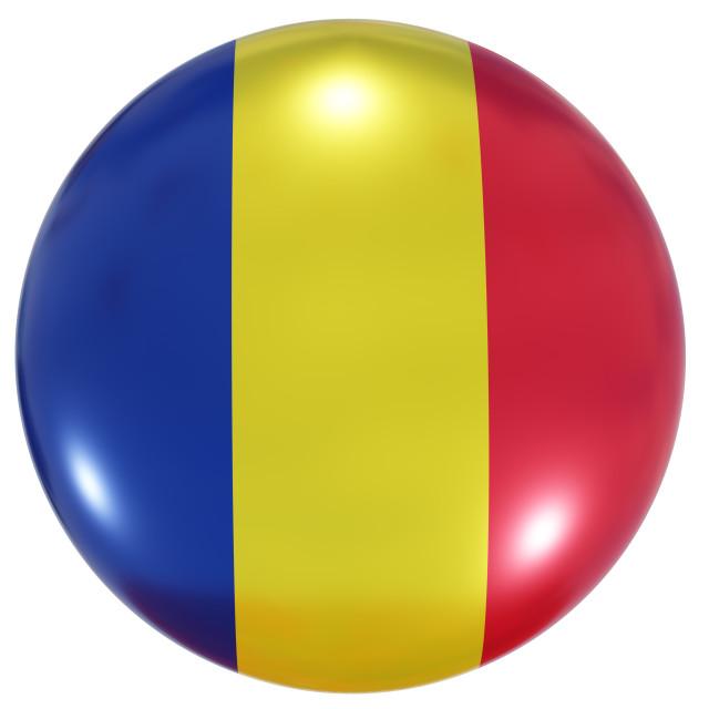 """Romania national flag button"" stock image"