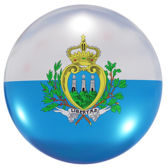 """San Marino national flag button"" stock image"