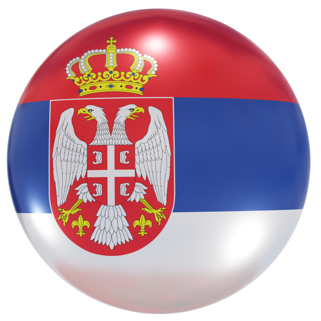 """""""Serbia national flag button"""" stock image"""