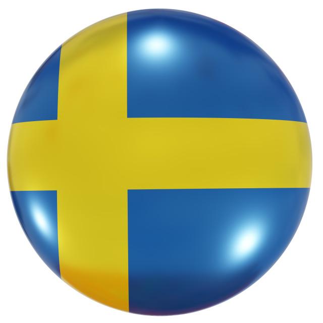 """Sweden national flag button"" stock image"