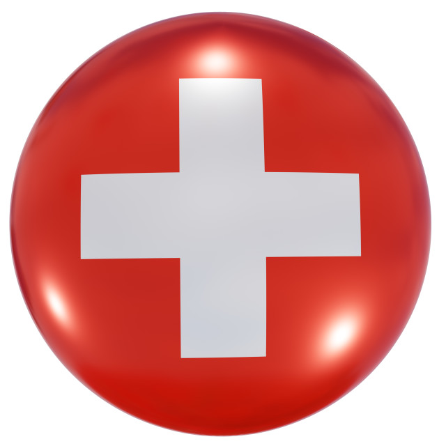 """Switzerland national flag button"" stock image"
