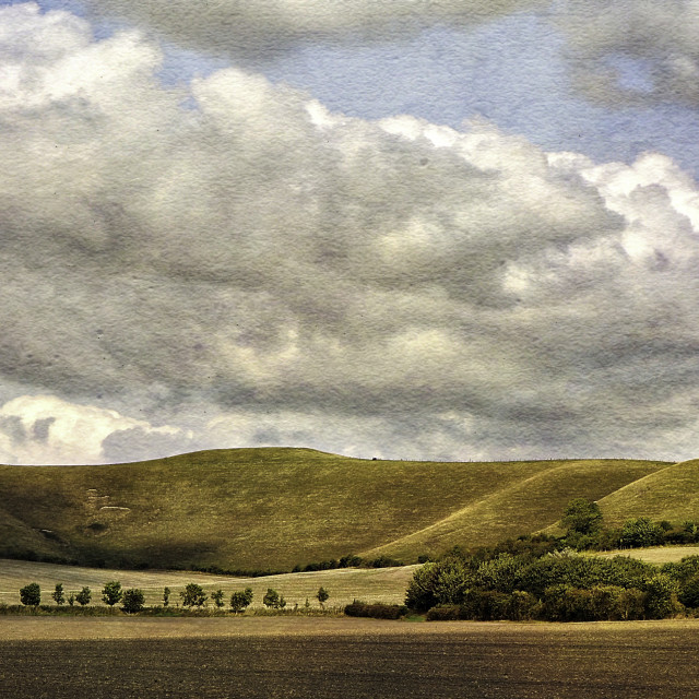 """""""The Pewsey Down Hills #4"""" stock image"""