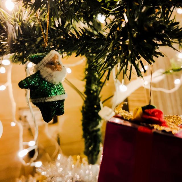 """santa decoration on a christmas tree"" stock image"
