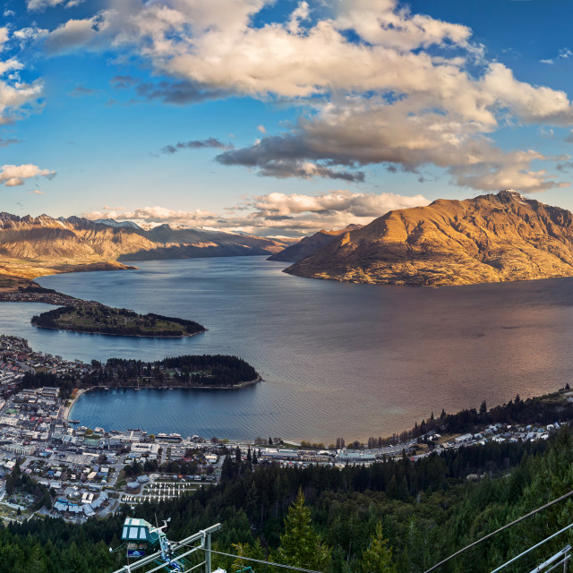 """""""Queenstown New Zealand view from Gondola."""" stock image"""