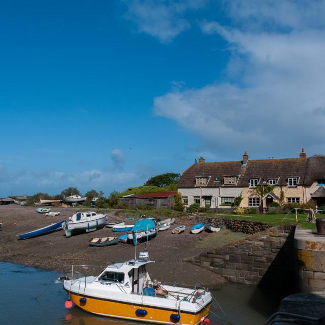 """Porlock Weir cottages"" stock image"