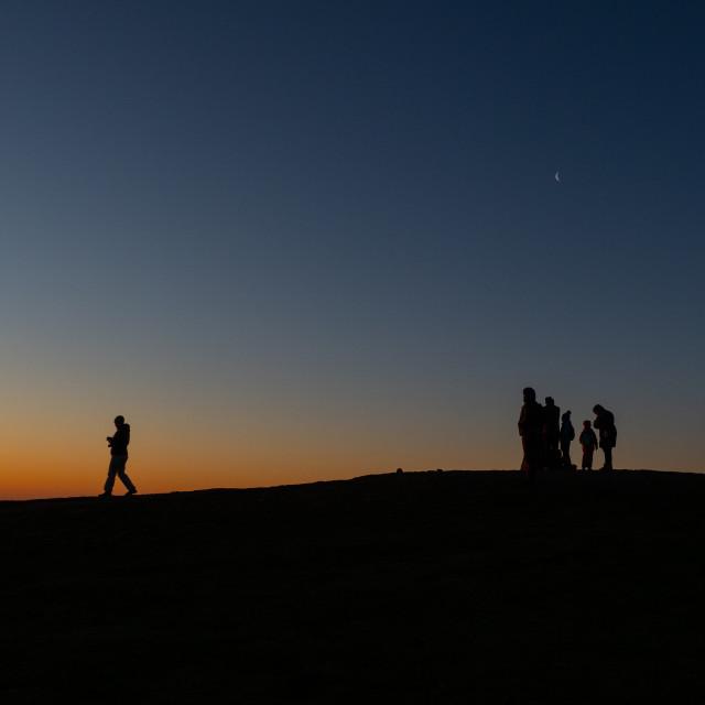 """""""Watching the Sunrise - Mam Tor"""" stock image"""