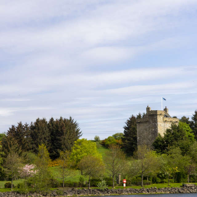 """Mains Castle and the James Hamilton Heritage Loch"" stock image"