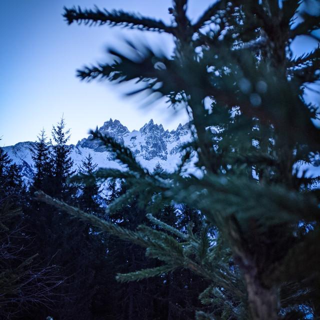 """""""Sunrise over Mont Blanc Massif"""" stock image"""