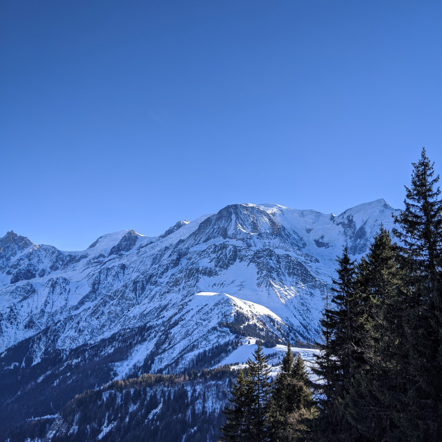 """Mont-Blanc Massif from Le Prarion"" stock image"