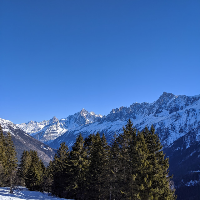 """The Chamonix Valley and the Mont-Blanc Massif"" stock image"