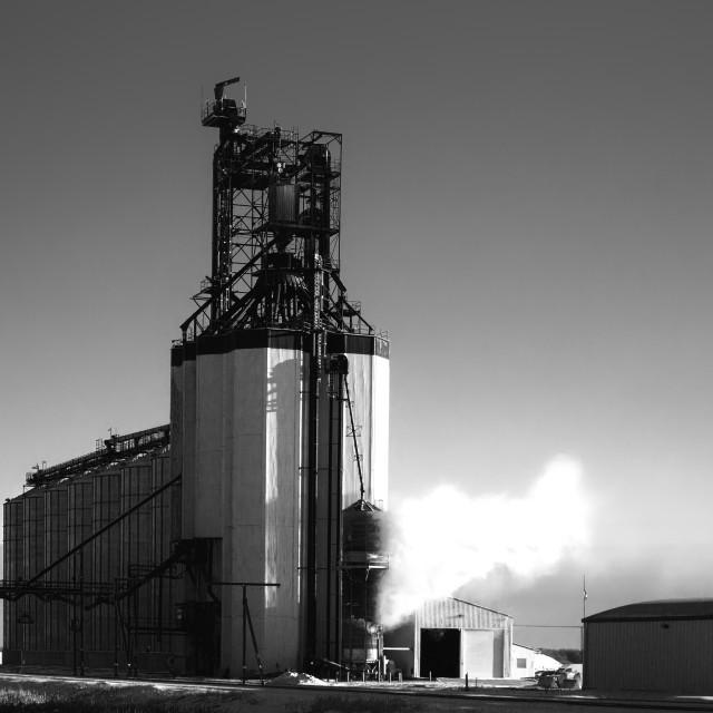 """Steam rising at a cocrete grain storage elevator in a black and white rural winter landscape"" stock image"
