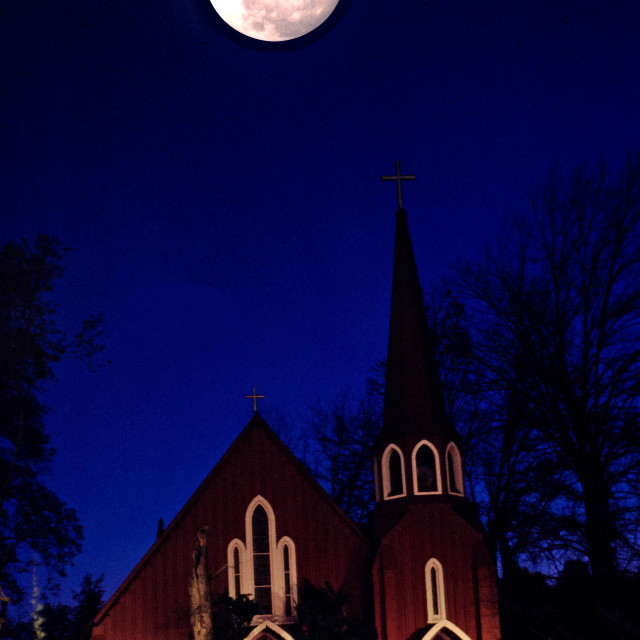 """Moon and Church"" stock image"