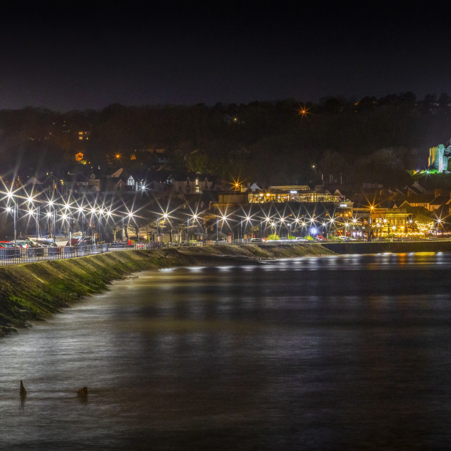 """""""Oystermouth promenade by night"""" stock image"""