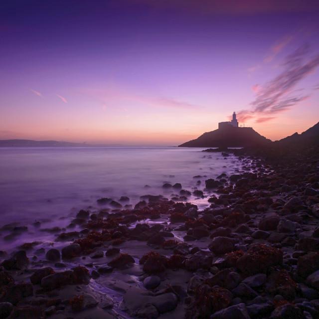 """""""Daybreak at Mumbles lighthouse"""" stock image"""