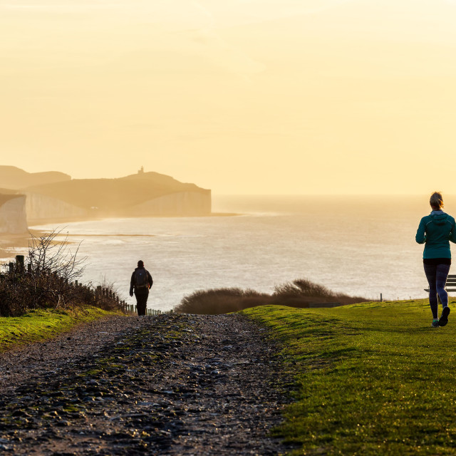 """""""A beautiful morning for a run"""" stock image"""