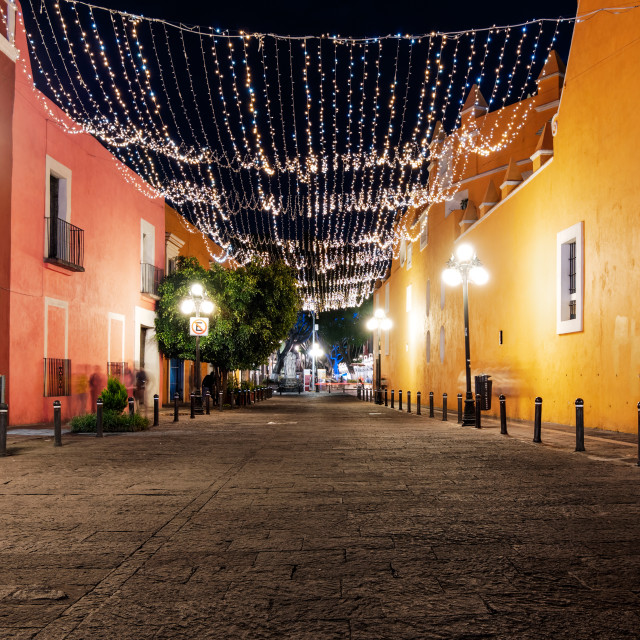 """""""Calle 8 Norte of Puebla with light decoration at night"""" stock image"""