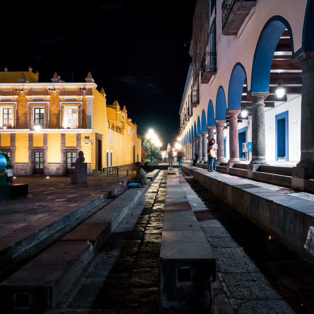 """""""Ministry of Health of the State of Puebla at night"""" stock image"""