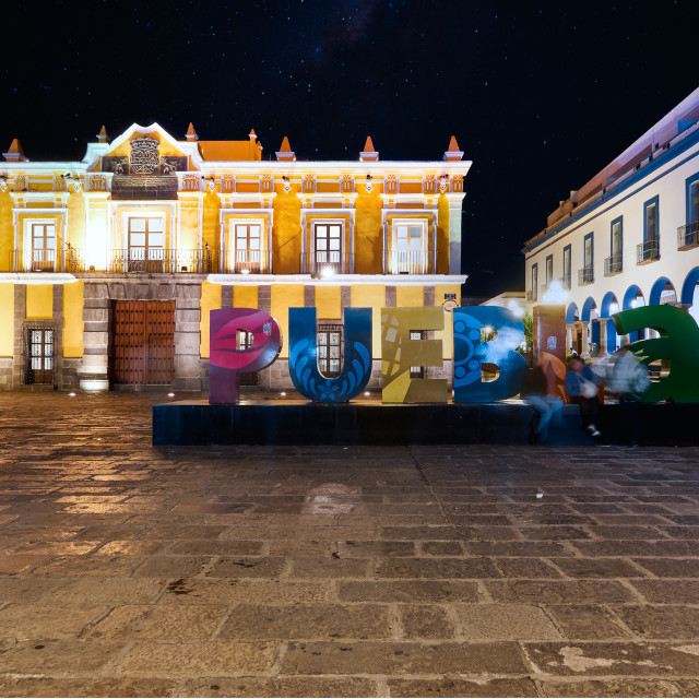 """""""Giant letters of Puebla in Main Theater square at night"""" stock image"""