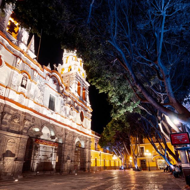 """""""Historic Church of La Compania in Puebla city at night"""" stock image"""