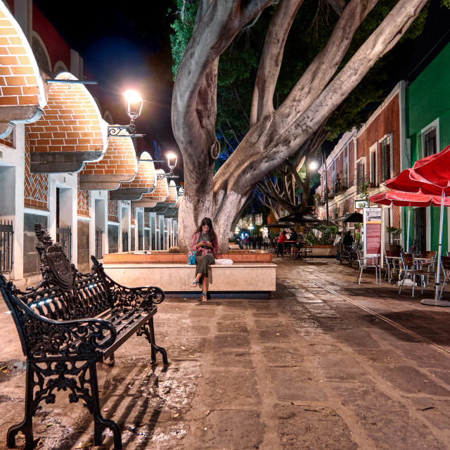 """Artist quarter of Puebla city illuminated at night"" stock image"