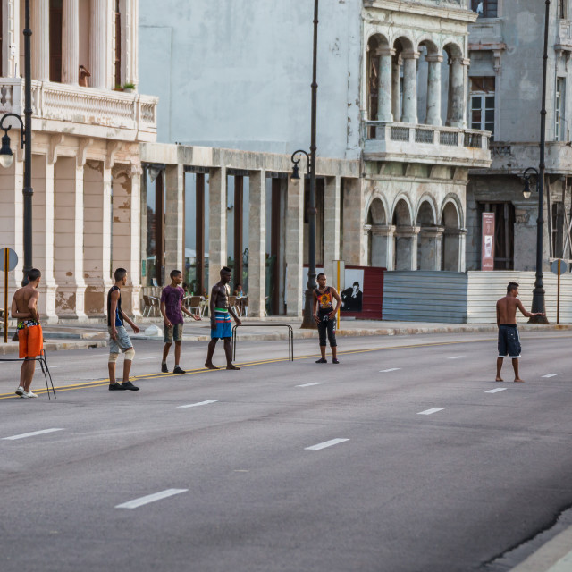 """""""Football on the Malecon"""" stock image"""
