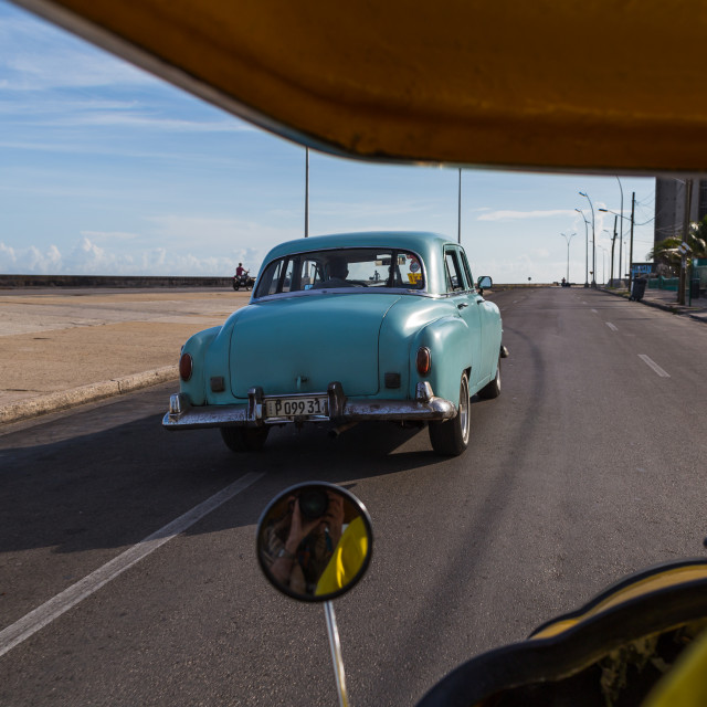 """""""Following an old timer on the Malecon"""" stock image"""