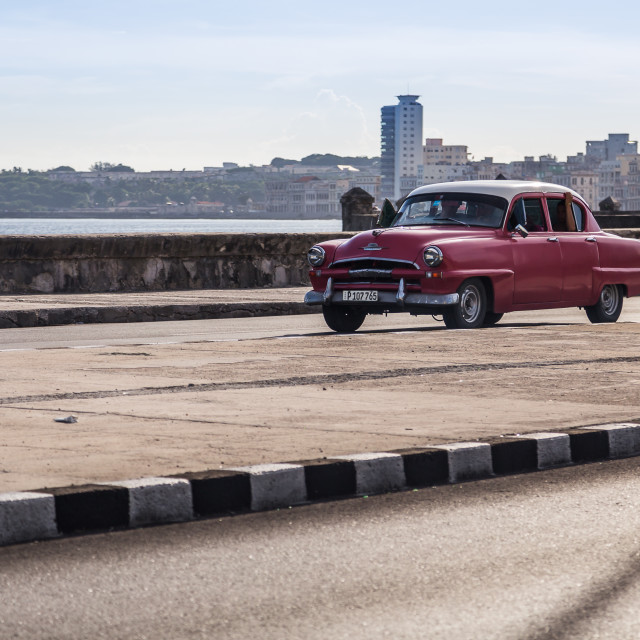"""""""Pink classical car on the Malecon"""" stock image"""