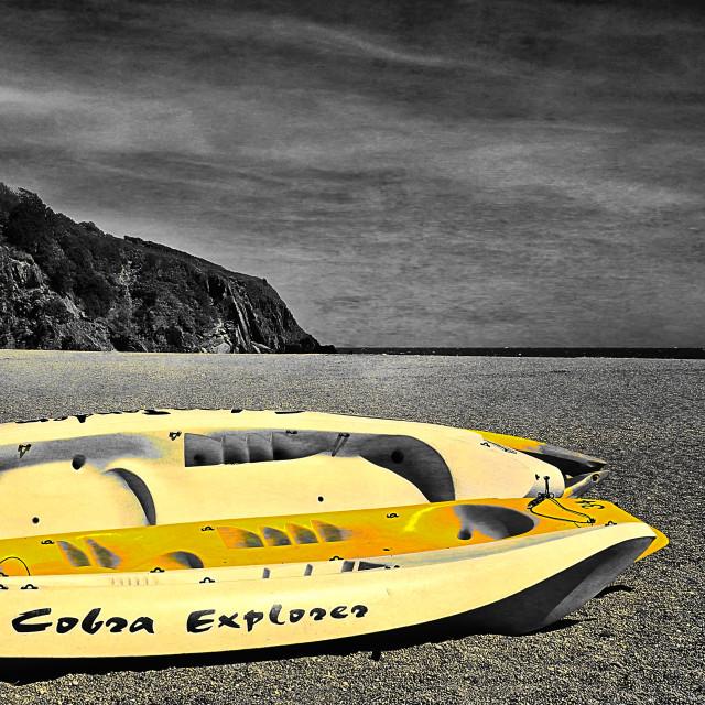 """Beach Canoes"" stock image"