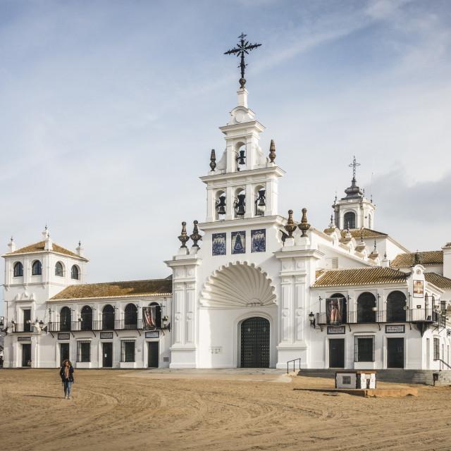 """""""El Rocio church, Hermitage of the Virgin of El Rocio"""" stock image"""